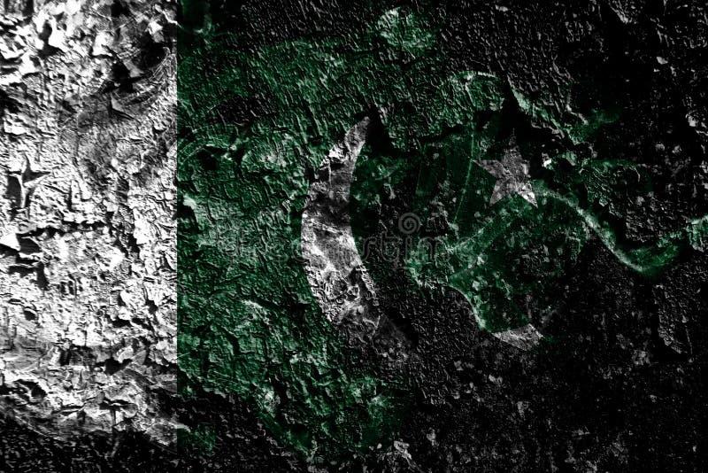 Bandeira místico fumarento de Paquistão no fundo sujo velho da parede ilustração do vetor
