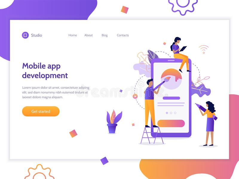 Bandeira móvel do desenvolvimento do app ilustração royalty free