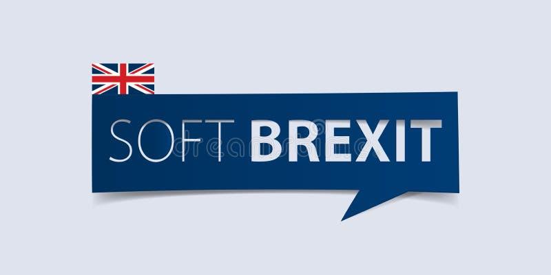 Bandeira macia de Brexit isolada na luz - fundo azul Molde do projeto da bandeira Vetor ilustração stock