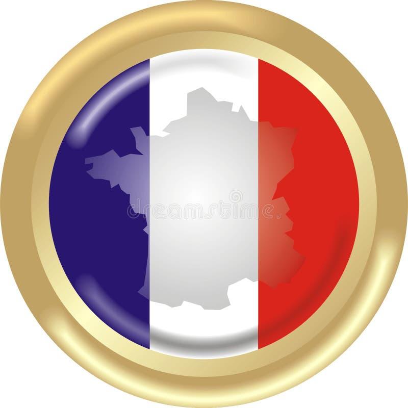 Bandeira + mapa de France ilustração stock