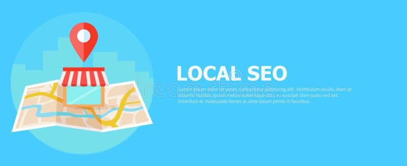 Bandeira, mapa e loja locais do seo na vista realística ilustração stock