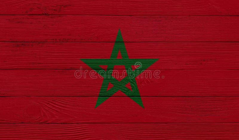 Bandeira marroquina com textura de madeira fotografia de stock royalty free