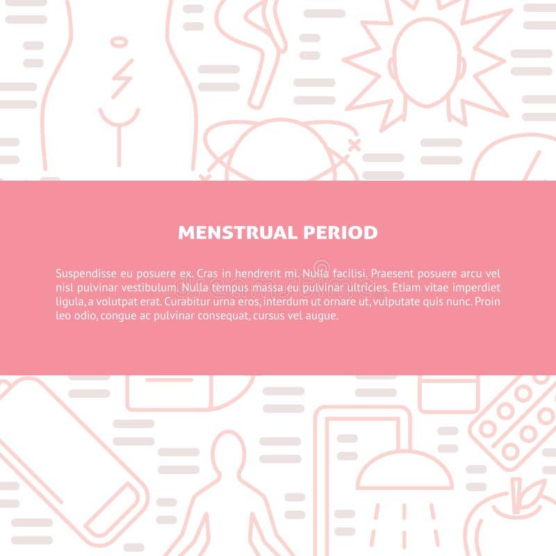 Bandeira menstrual do conceito dos sintomas e do tratamento da dor na linha estilo ilustração royalty free