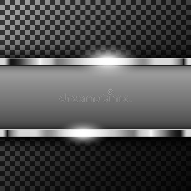 Bandeira metálica do cromo com o espaço do texto em transparente textured ilustração royalty free