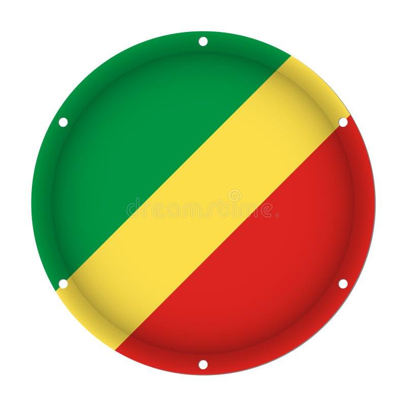 Bandeira metálica redonda de Congo com furos do parafuso ilustração do vetor