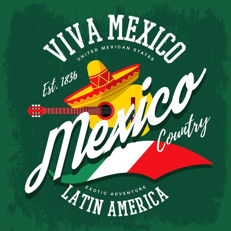 Bandeira mexicana do sombreiro e do banjo ilustração do vetor