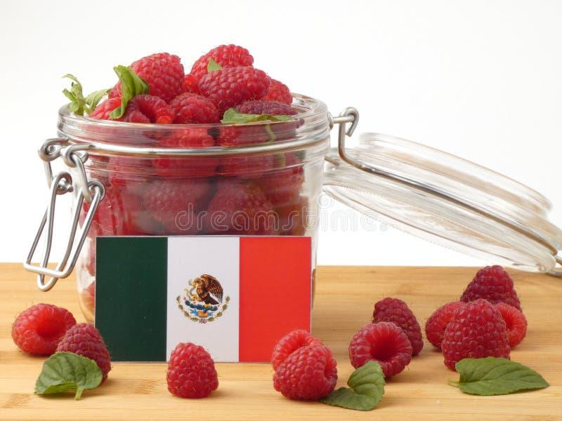 Bandeira mexicana em um painel de madeira com as framboesas isoladas em um wh foto de stock