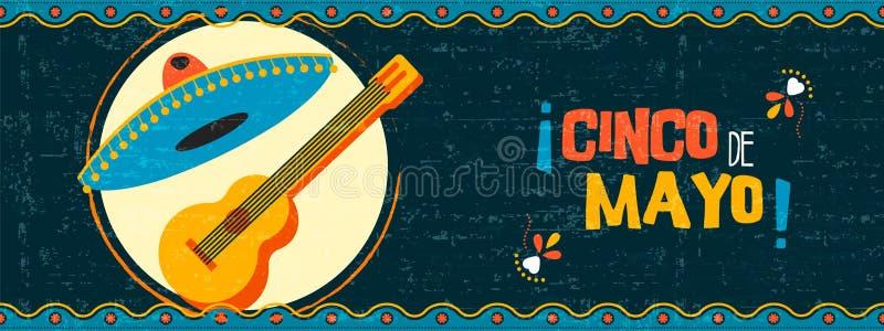 Bandeira mexicana feliz da Web do mariachi do de Mayo do cinco ilustração royalty free