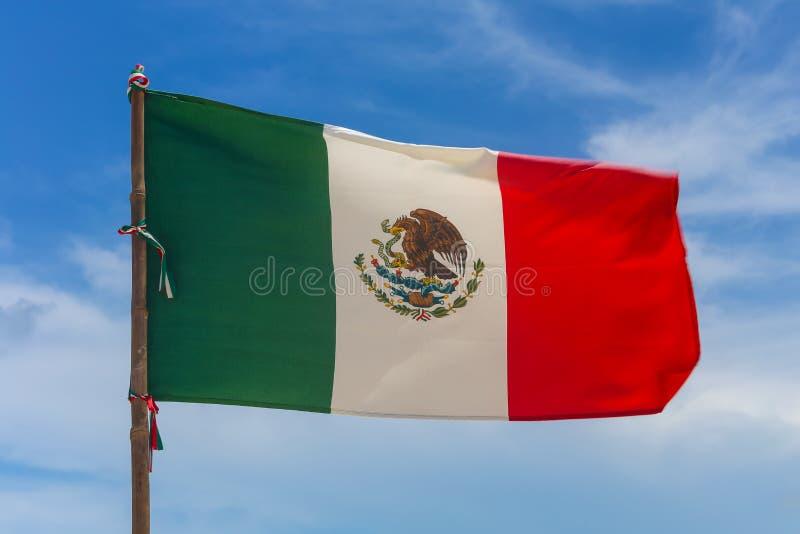 Bandeira mexicana no vento fotografia de stock