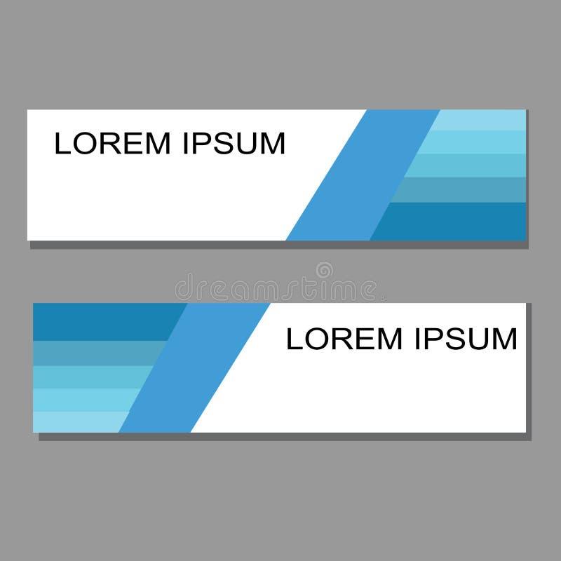 Bandeira moderna com azul e o branco ilustração stock