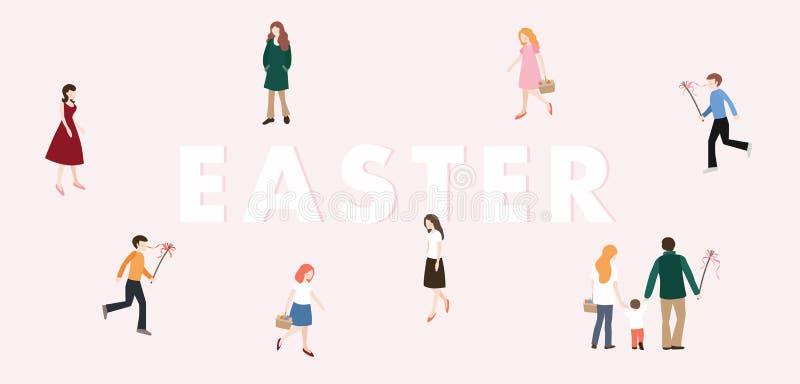 Bandeira moderna da Web da Páscoa Meninos com o chicote que persegue as meninas com ovos da páscoa coloridos Família, passeio dos ilustração do vetor