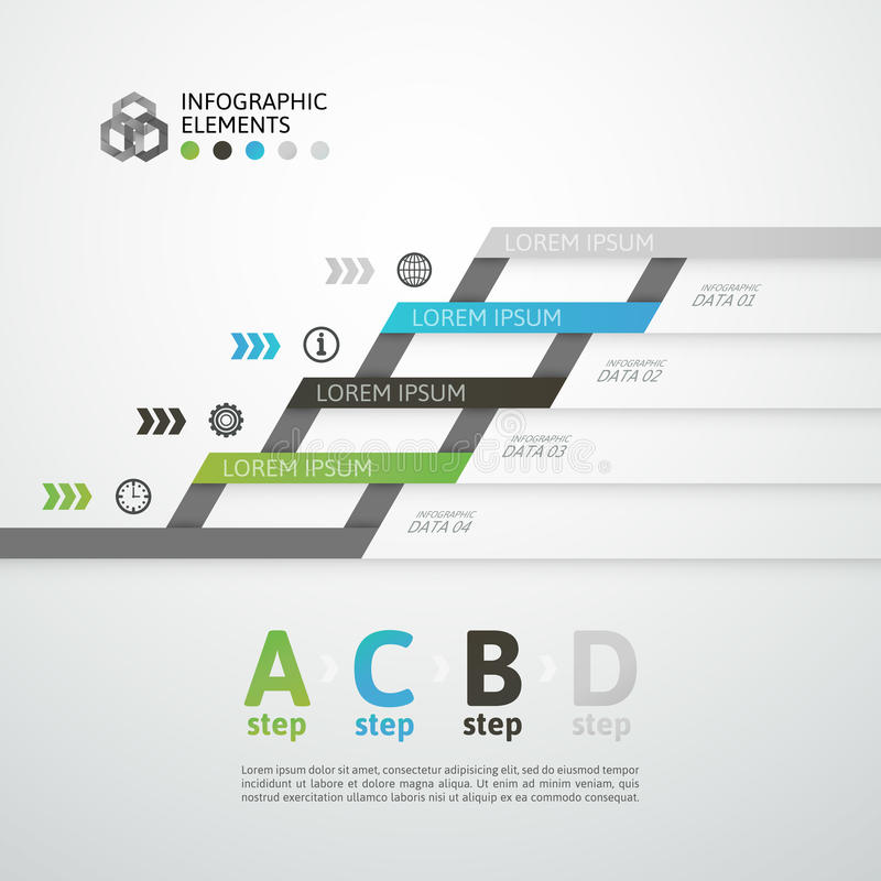 Bandeira moderna das opções do estilo do origâmi da etapa do negócio ilustração stock