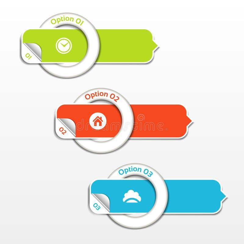 Bandeira moderna das opções do infographics Ilustração do vetor pode ser usado para a disposição dos trabalhos, diagrama, opções  ilustração royalty free