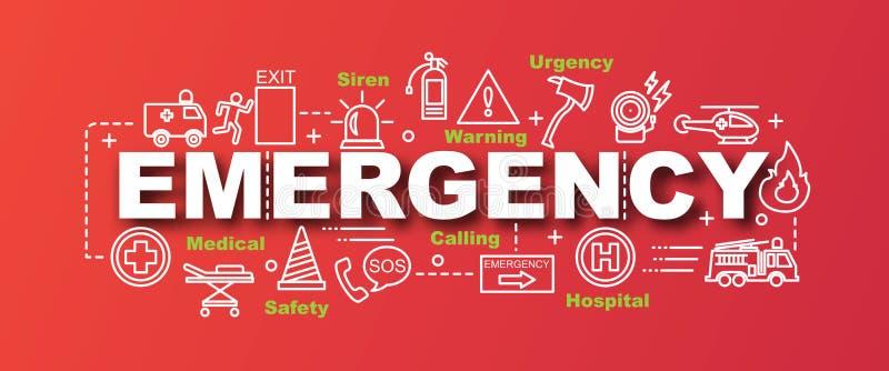 Bandeira na moda do vetor da emergência ilustração stock
