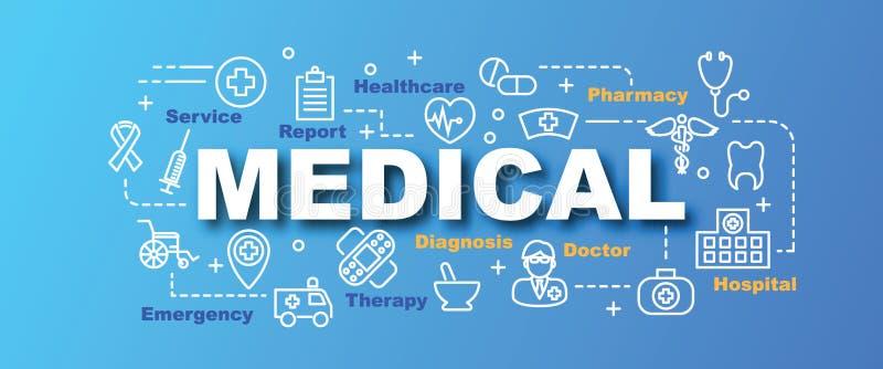 Bandeira na moda do vetor médico ilustração do vetor