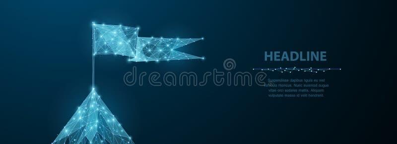 Bandeira na parte superior da montanha A baixa malha poli do wireframe olha como a constelação no céu noturno azul com pontos e e ilustração do vetor