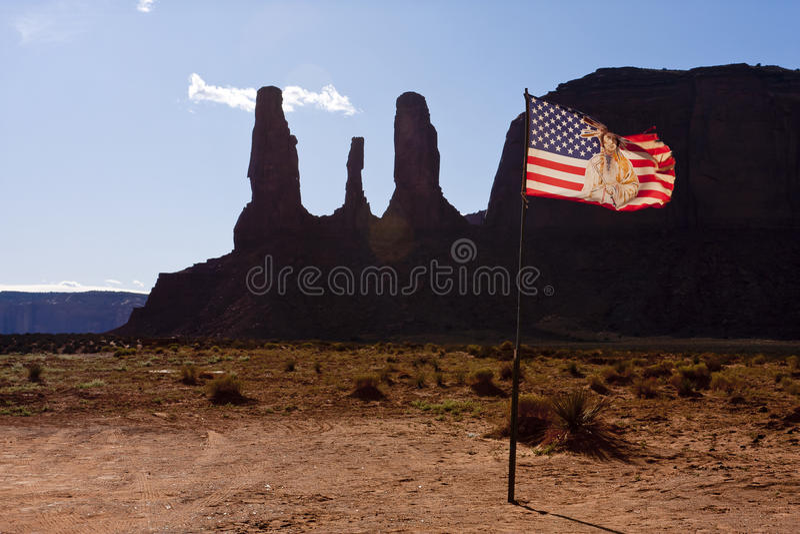Bandeira na reserva indiana de Navajo imagem de stock