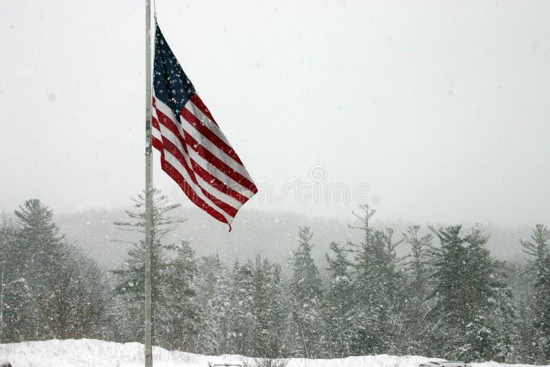 Bandeira na tempestade da neve fotos de stock