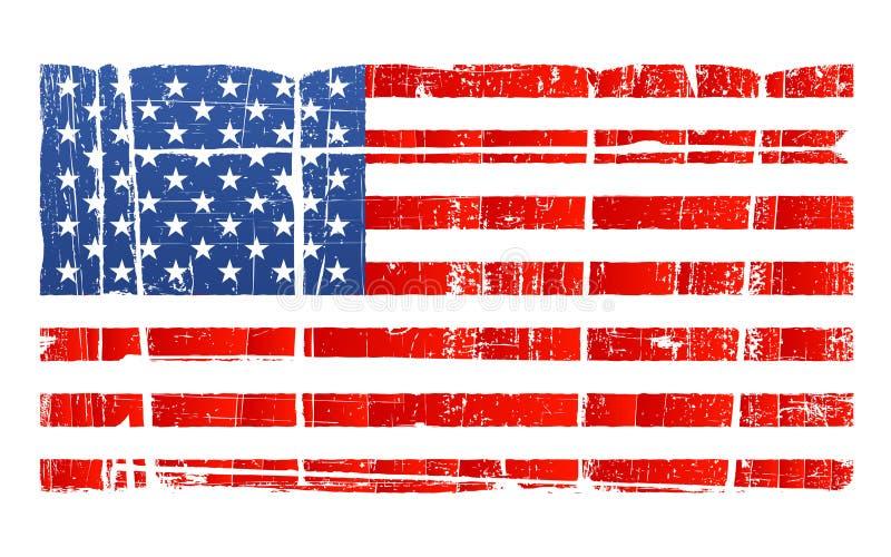 Bandeira nacional americana afligida ilustração royalty free