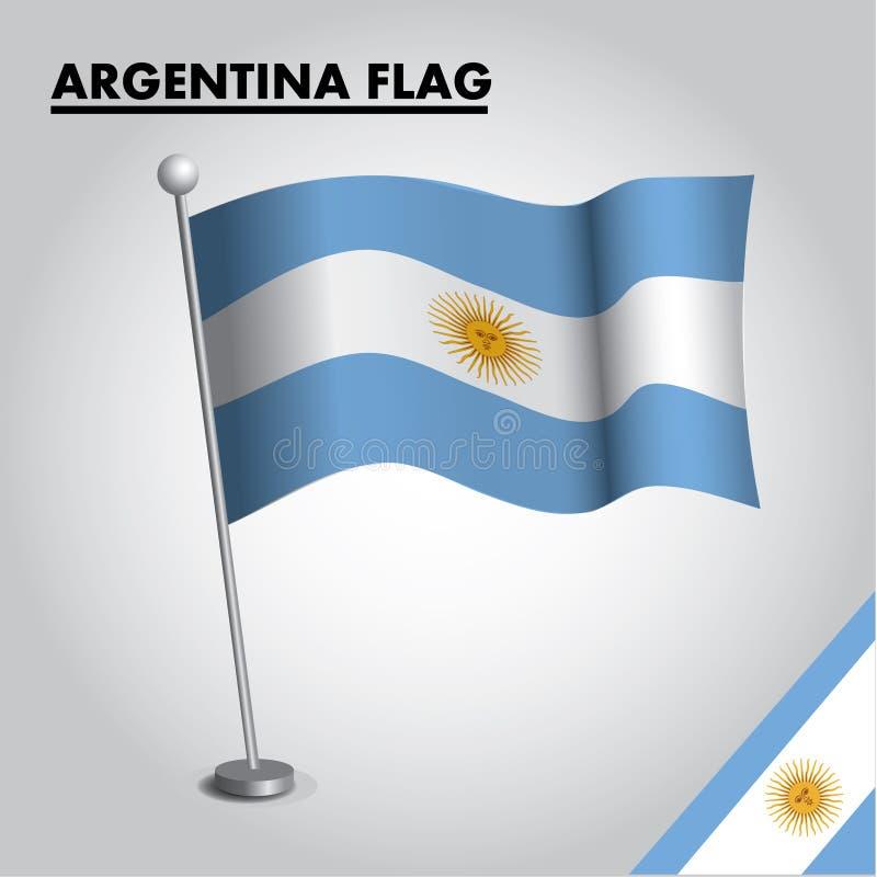 Bandeira nacional da bandeira de Argentina de Argentina em um polo ilustração royalty free