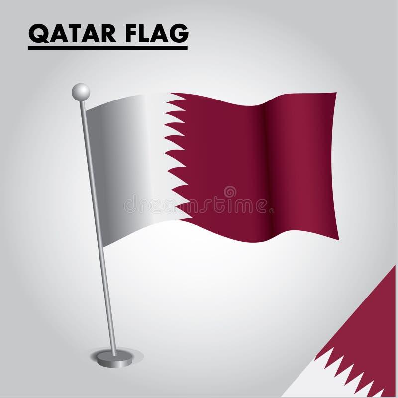 Bandeira nacional da bandeira de CATAR de CATAR em um polo ilustração royalty free