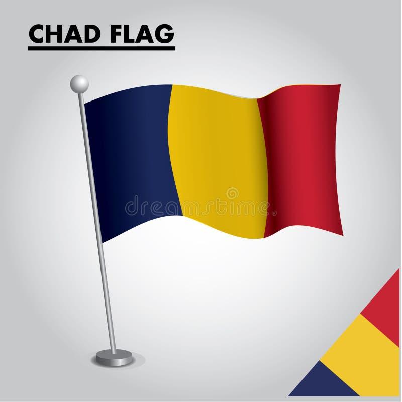 Bandeira nacional da bandeira de CHADE de CHADE em um polo ilustração royalty free