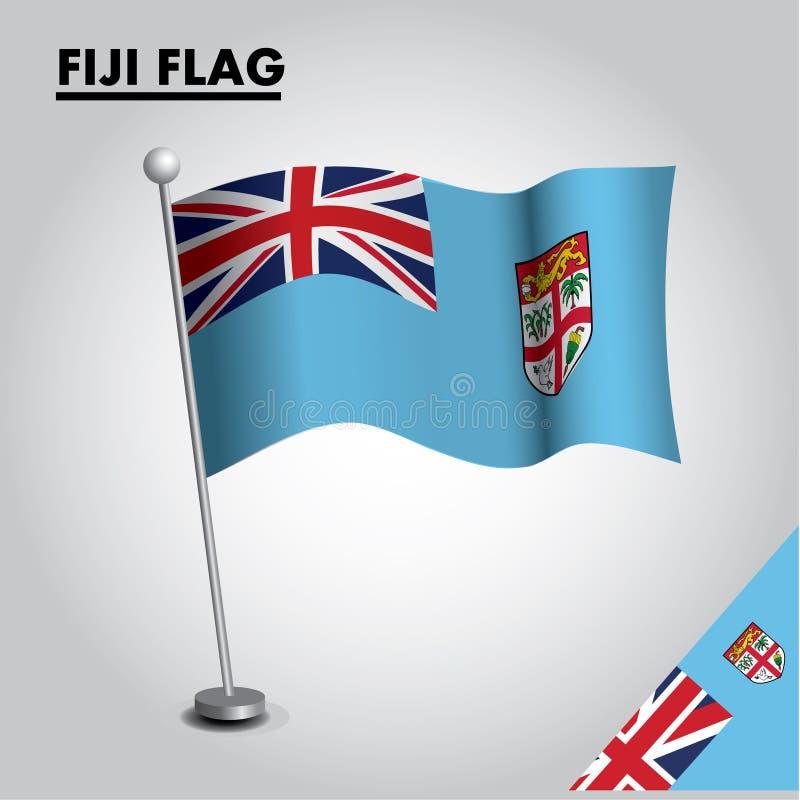 Bandeira nacional da bandeira de FIJI de FIJI em um polo ilustração do vetor