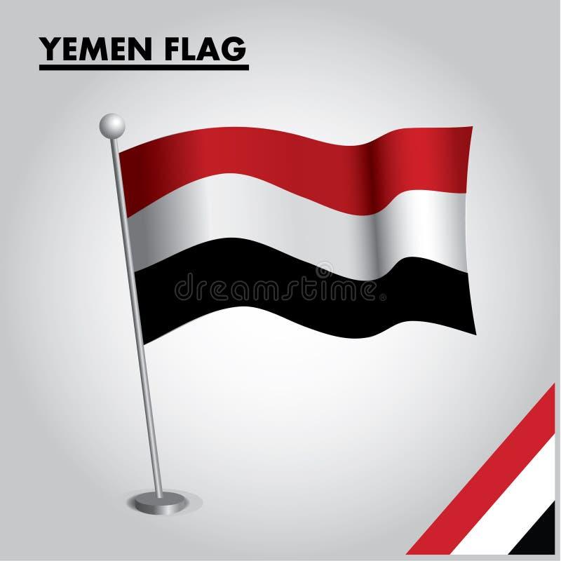 Bandeira nacional da bandeira de IÉMEN de IÉMEN em um polo ilustração stock