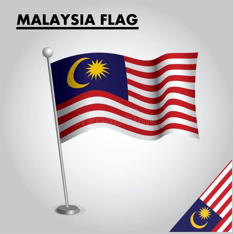 Bandeira nacional da bandeira de MALÁSIA de MALÁSIA em um polo ilustração do vetor