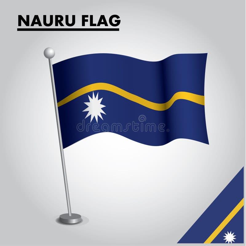 Bandeira nacional da bandeira de NAURU de NAURU em um polo ilustração royalty free