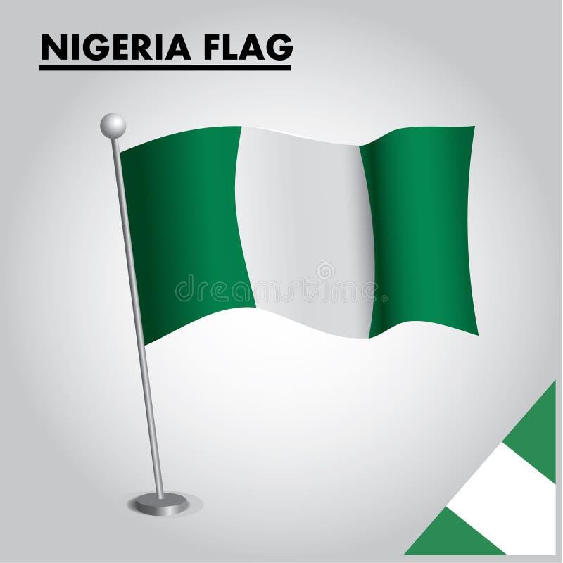 Bandeira nacional da bandeira de NIGÉRIA de NIGÉRIA em um polo ilustração royalty free