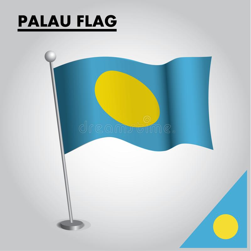 Bandeira nacional da bandeira de PALAU de PALAU em um polo ilustração do vetor