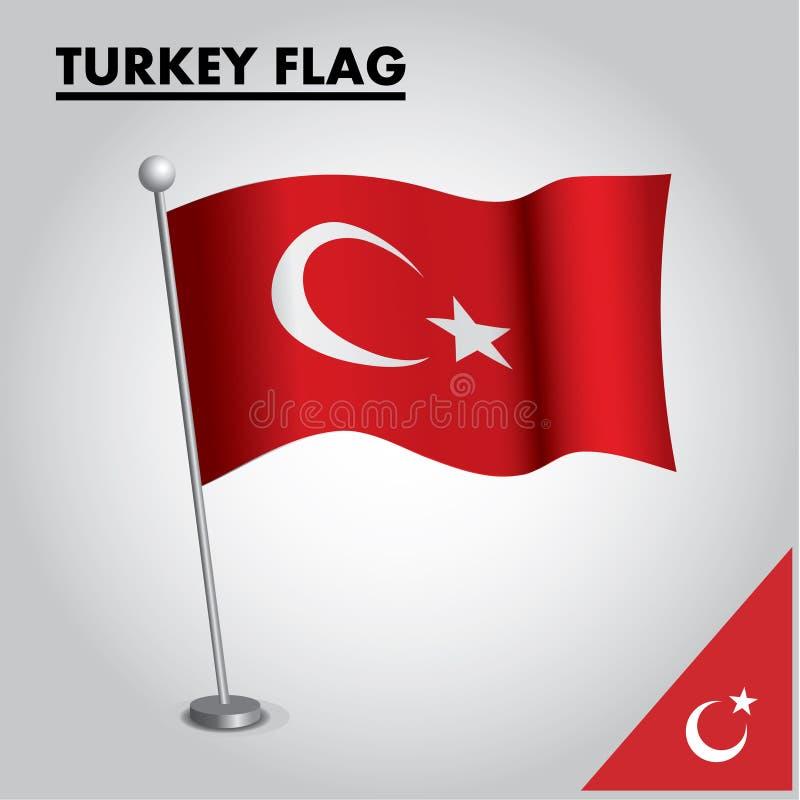 Bandeira nacional da bandeira de TURQUIA de TURQUIA em um polo ilustração stock
