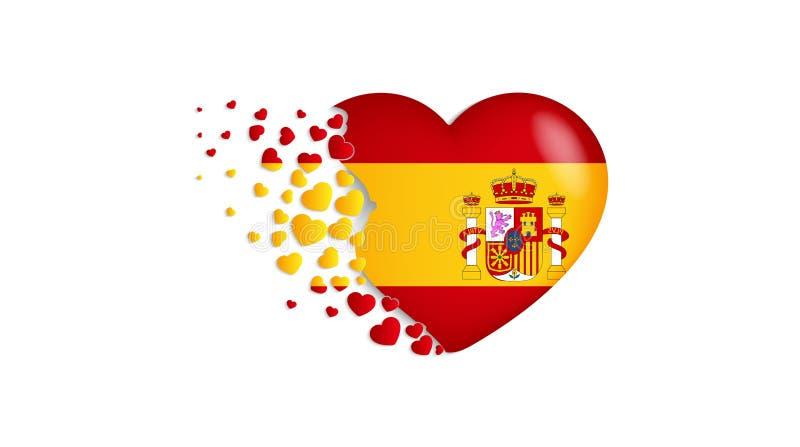 Bandeira nacional da Espanha na ilustração do coração Com amor ao país da Espanha A bandeira nacional da Espanha para voar para f ilustração royalty free