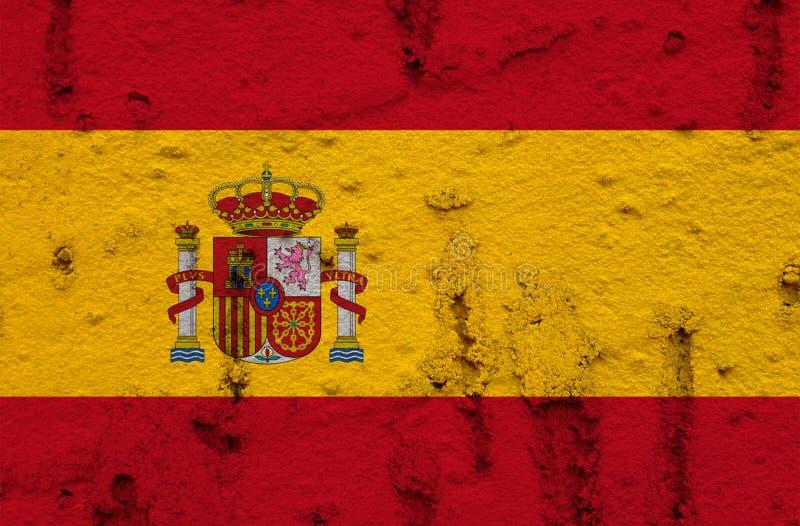Bandeira nacional da Espanha no fundo da parede do Grunge foto de stock