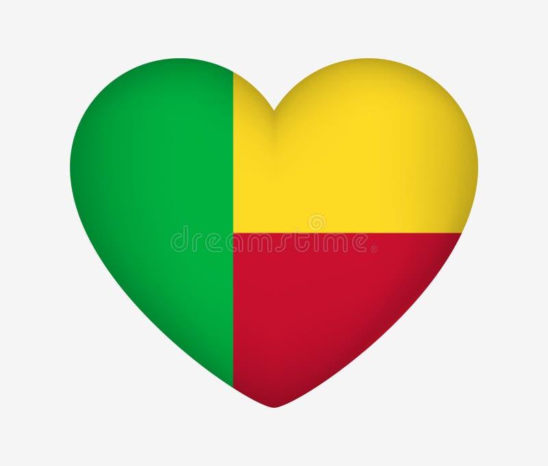 Bandeira nacional dada forma cora??o de Benin Eu amo meu pa?s Ilustra??o do vetor ilustração do vetor