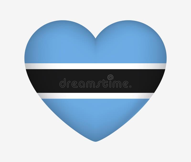 Bandeira nacional dada forma cora??o de Botswana Eu amo meu pa?s Ilustra??o do vetor ilustração royalty free