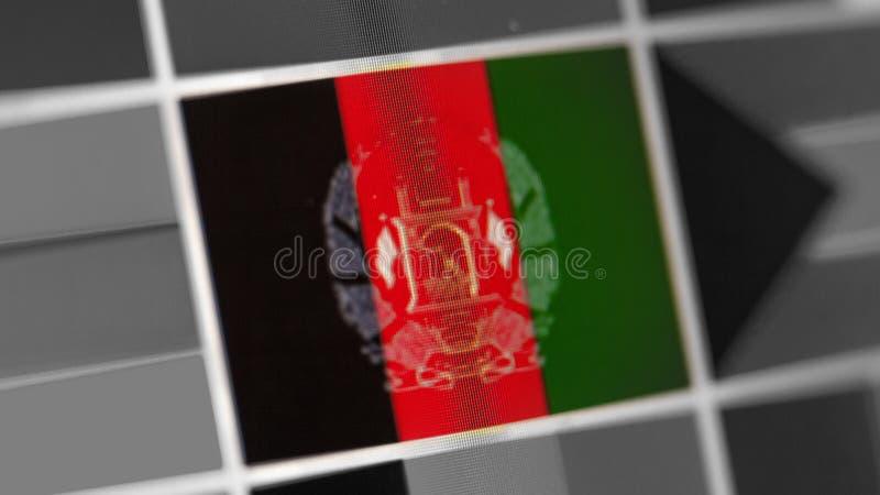 Bandeira nacional de Afeganistão do país bandeira na exposição, um efeito de ondeamento digital imagens de stock royalty free