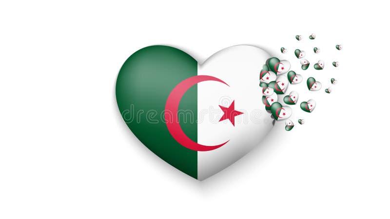 Bandeira nacional de Argélia na ilustração do coração Com amor ao país de Argélia A bandeira nacional de Argélia para voar para f ilustração stock