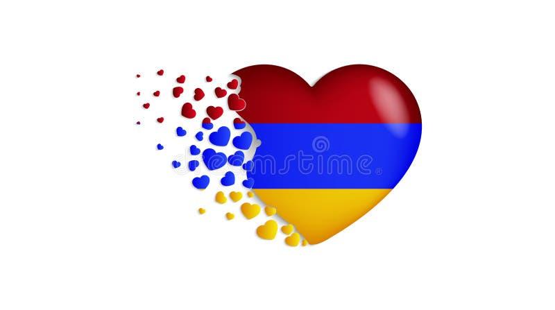 Bandeira nacional de Armênia na ilustração do coração Com amor ao país de Armênia A bandeira nacional de Armênia para voar para f ilustração stock
