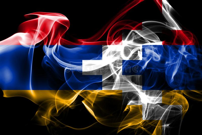 A bandeira nacional de Artsakh fez do fumo colorido isolado no fundo preto imagem de stock royalty free