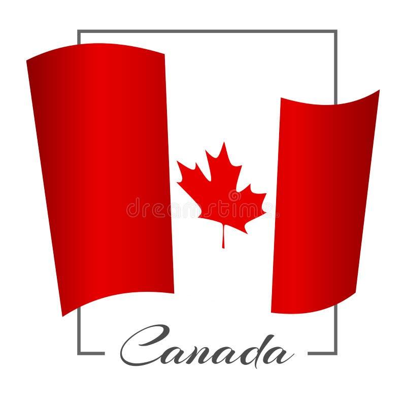 A bandeira nacional de Canadá em um quadro retangular com o vetor do fundo de Canadá da inscrição ilustração do vetor