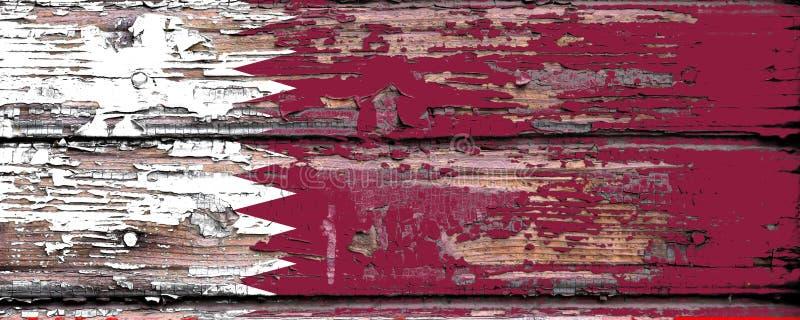 Bandeira nacional de Catar em um fundo de madeira fotos de stock