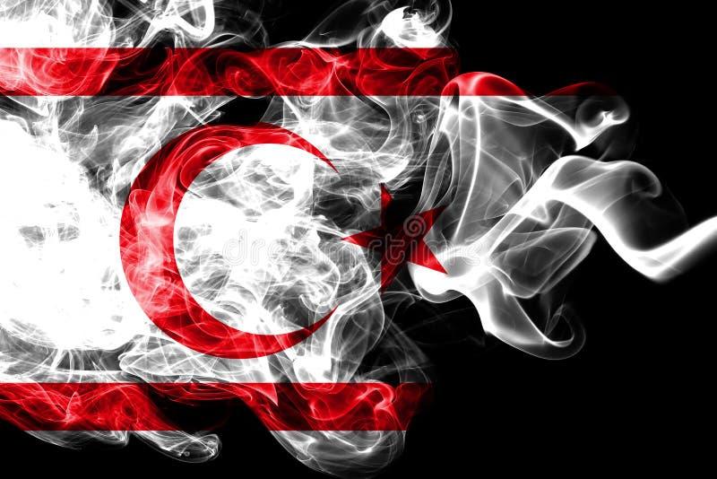 Bandeira nacional de Chipre do norte feita do fumo colorido isolado no fundo preto Fundo de seda abstrato da onda ilustração stock