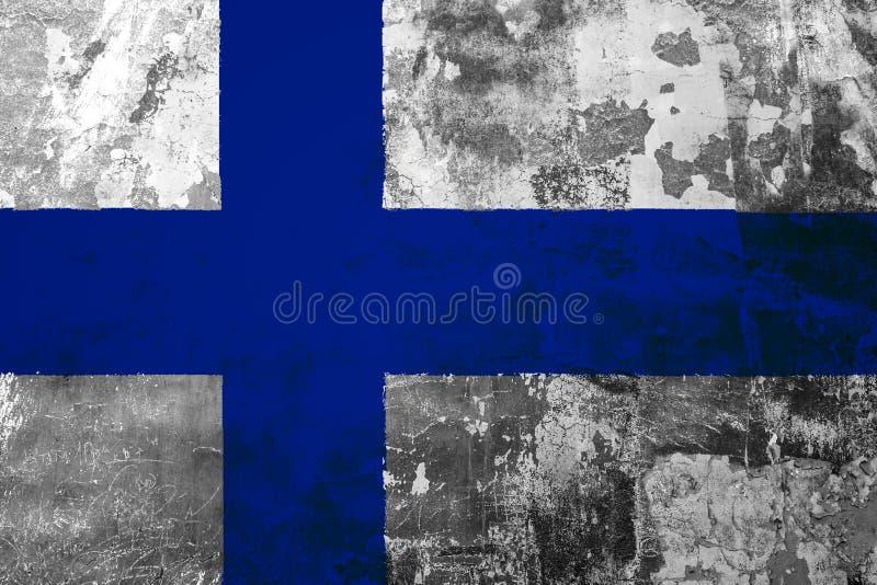 Bandeira nacional de Finlandia no fundo da parede velha ilustração royalty free