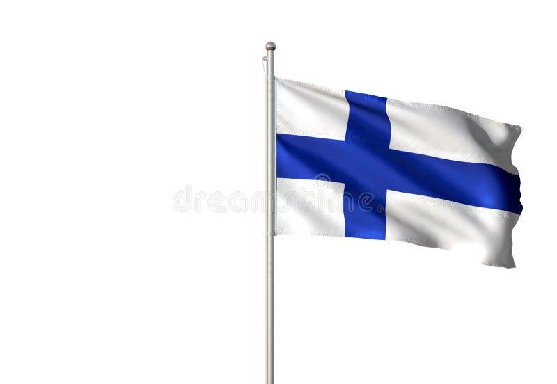 Bandeira nacional de Finlandia que acena a ilustração 3d realística isolada do fundo branco ilustração royalty free