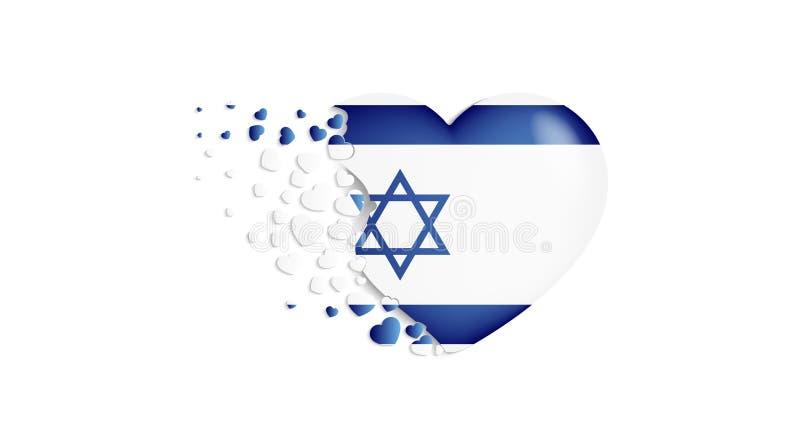 Bandeira nacional de Israel na ilustração do coração Com amor ao país de Israel A bandeira nacional de Israel para voar para fora ilustração do vetor