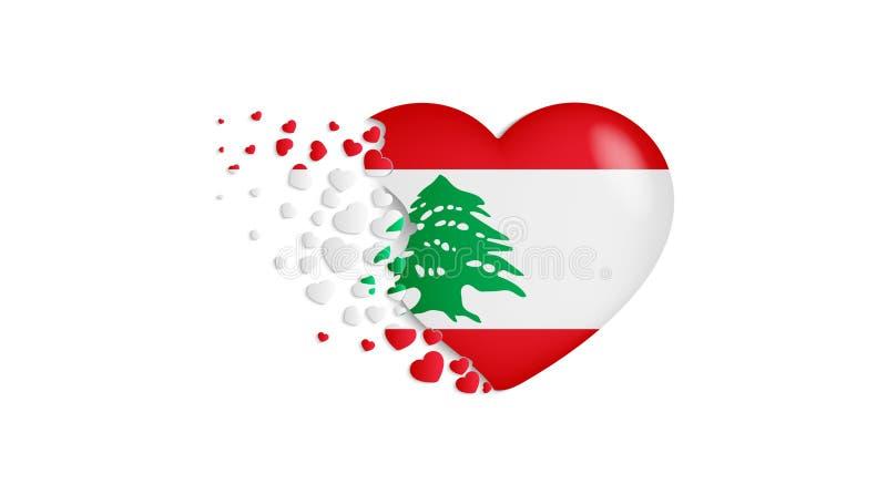 Bandeira nacional de Líbano na ilustração do coração Com amor ao país de Líbano A bandeira nacional de Líbano para voar para fora ilustração royalty free