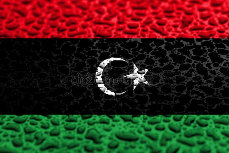 A bandeira nacional de Líbia fez de gotas da água r imagens de stock royalty free