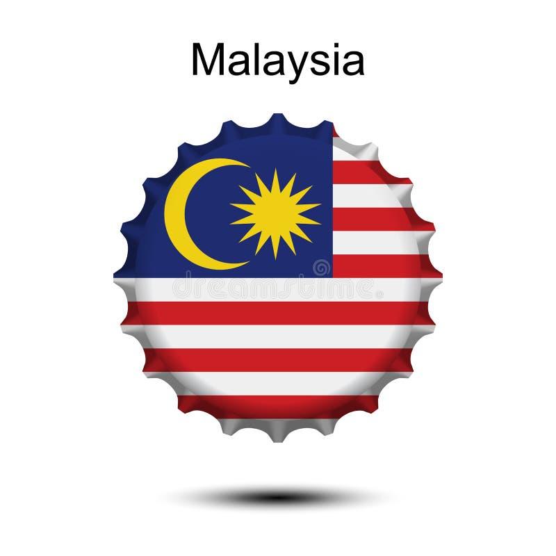 Bandeira nacional de Malásia em um tampão de garrafa ilustração stock